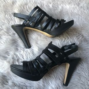 Franco Sarto Shoes - Franco Sarto Black Leather Martinez Heeled Sandals